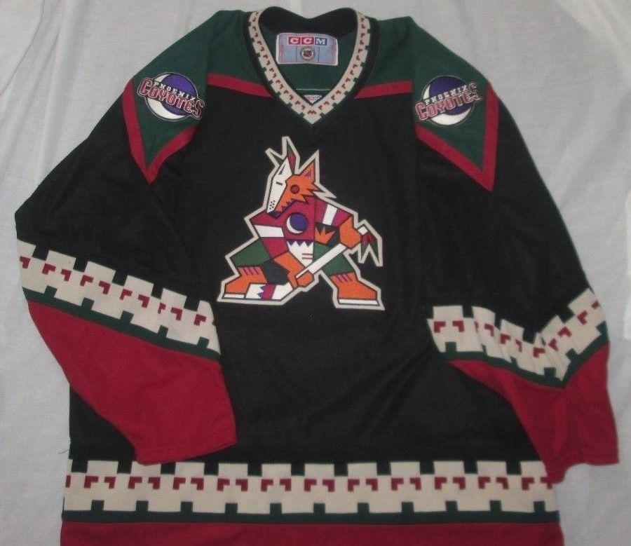 Vntg 90s PHOENIX ARIZONA COYOTES NHL Kachina Jersey Sz XL - Black - CCM -  EUC  CCM  PhoenixCoyotes 8d8cc391f