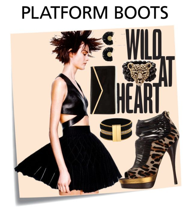 """WILD PLATFORM BOOTS"" by carolsha on Polyvore featuring Post-It, Versace, GUESS, Palm Beach Jewelry and Katerina Makriyianni"
