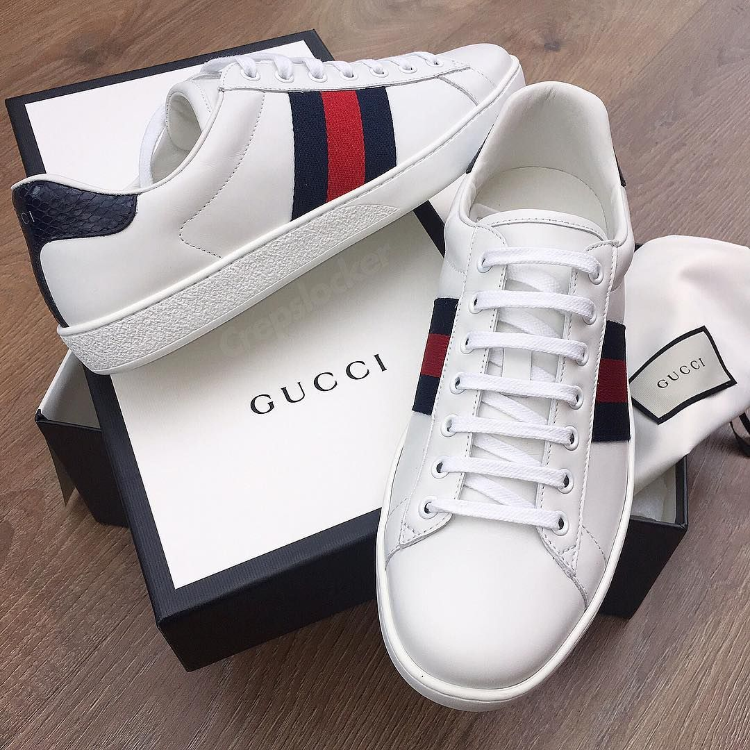 "c4d83dd0e42 CREPSLOCKER™ on Instagram: ""Gucci gang gang 👊 Classic Ace Sneaker / Also  available in black ⚫ All sizes available. £380 (BELOW RETAIL) ‼"