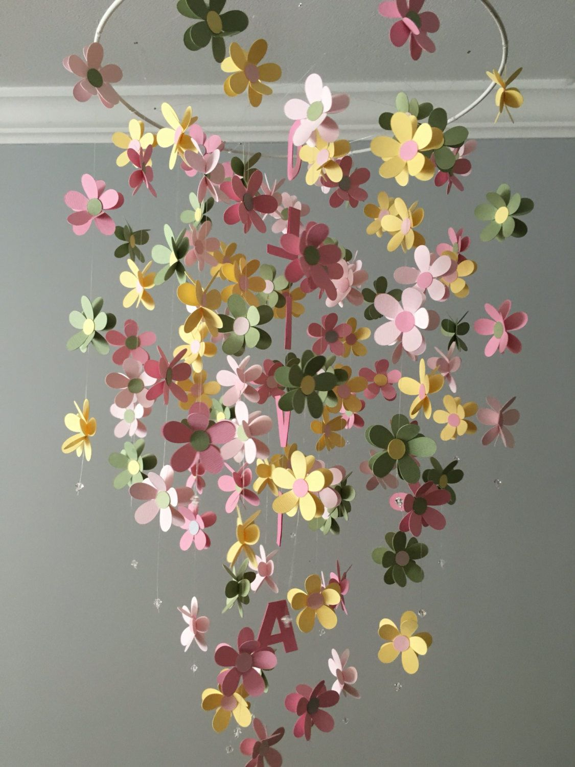Personalized flower mobile in yellow green and pink nursery
