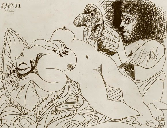 NU COUCHÉ ET HOMME AU MASQUE, 1969 Reclining Nude and Man with Mask Graphite pencil on paper, 50 x 65.5 cm Photo: Peter Schibli, Basel