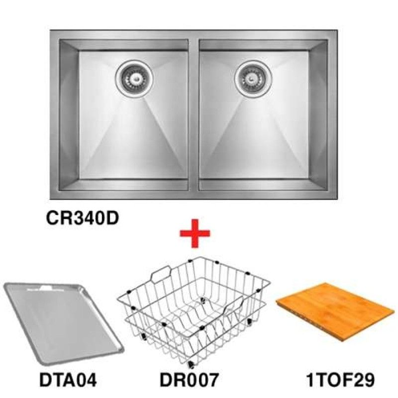abey double bowl inset sink pack cr340dapk - Abey Kitchen Sinks