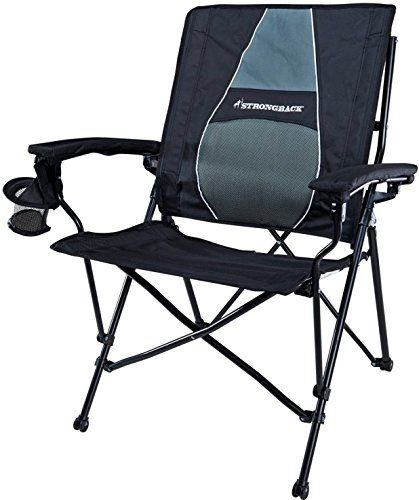 heavy duty folding chairs outdoor metallic gold chair covers camping for big people over 250 pounds strongback elite camp with lumbar support black and grey