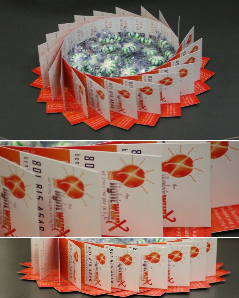 A great and creative candy dish made out of business cards! | What ...