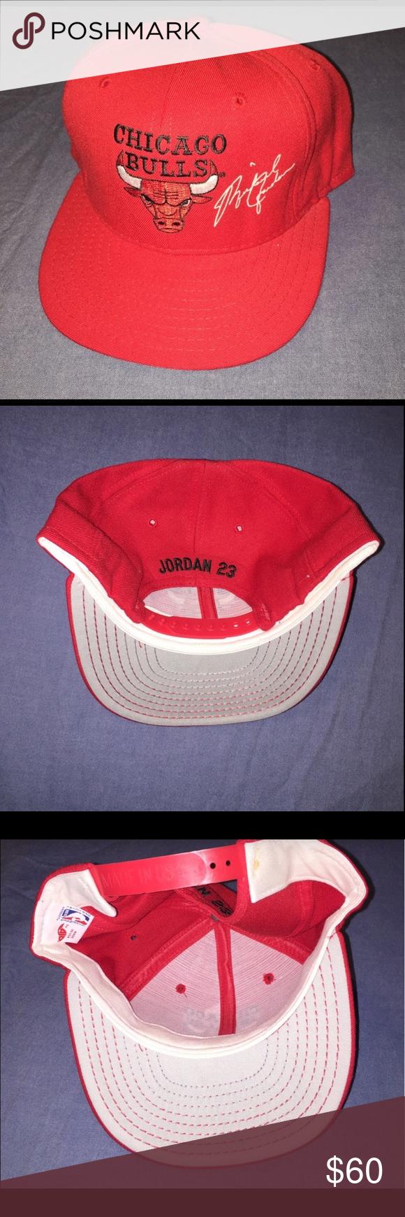 4395a42144ac7f Vintage Michael Jordan Snapback Hat w  Nameplate Vintage AJD Chicago Bulls  Michael Jordan Autographed Snapback Hat. Hat features Jordan Nameplate  above hat ...
