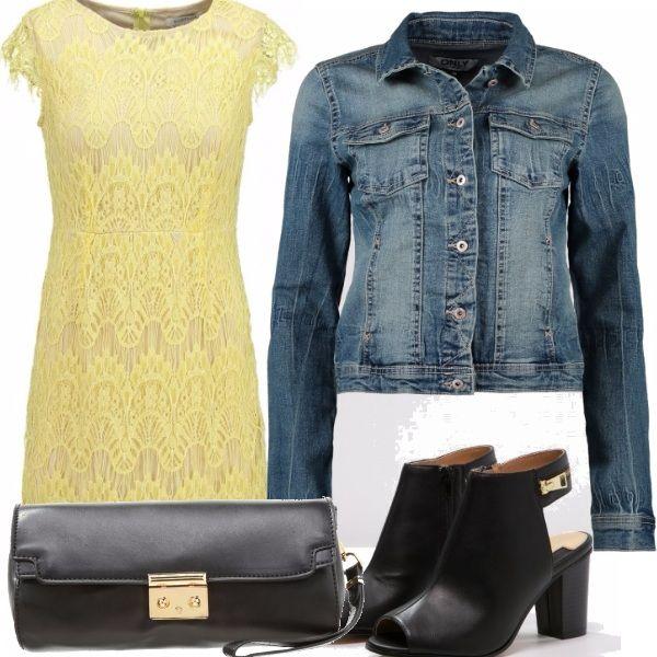 Per essere l'ape-regina della compagnia un abbinamento giallo-nero semplice ma alla moda, con il vestitino a dare un tocco di colore all'outfit e nel caso la temperatura si abbassasse un tocco di sportività con il giubbino di jeans