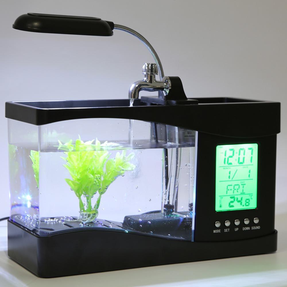 Usb Desktop Mini 1 5l Fish Aquarium Lcd Clock And Led Light With Pebbles Fish Tank Aquarium Lighting Glass Fish Tanks