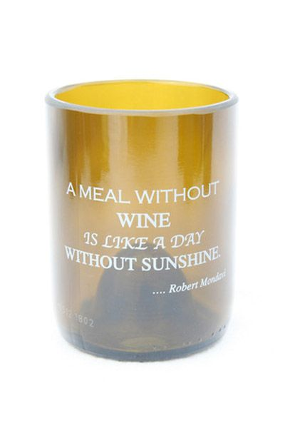 "Cheers to our new Wine Quote Glassware line! ~ ""A Meal Without Wine, Is Like A Day Without Sunshine"" ~ Robert Mondovi"