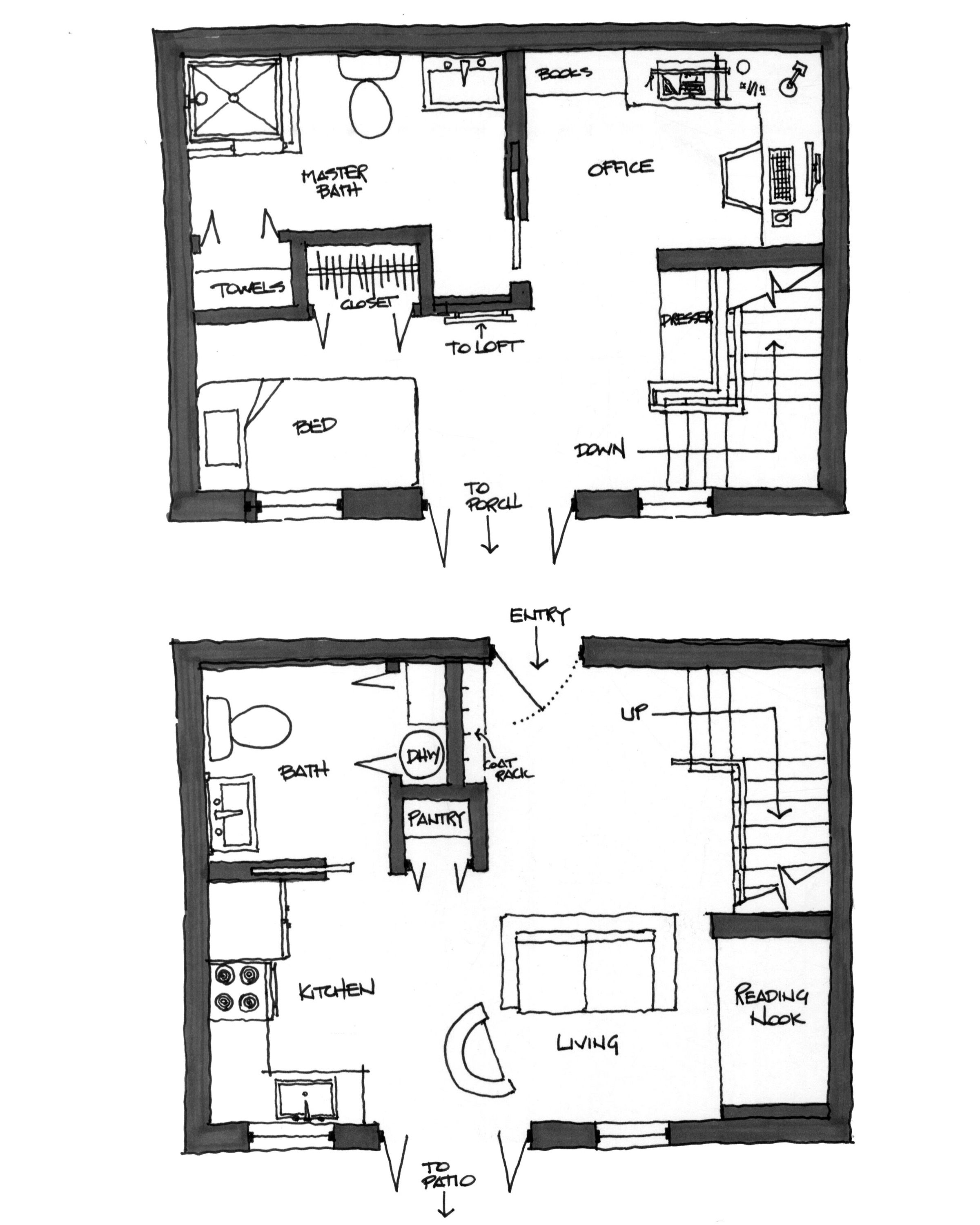 Hand-drawn Plan Configuration Study for 1- and 2-Story
