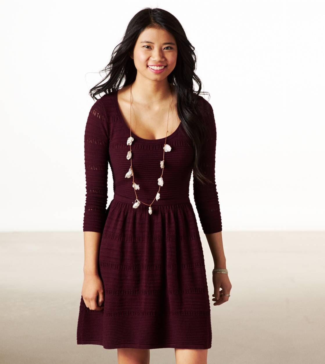 American Eagle Fit Amp Flare Sweater Dress Color Square