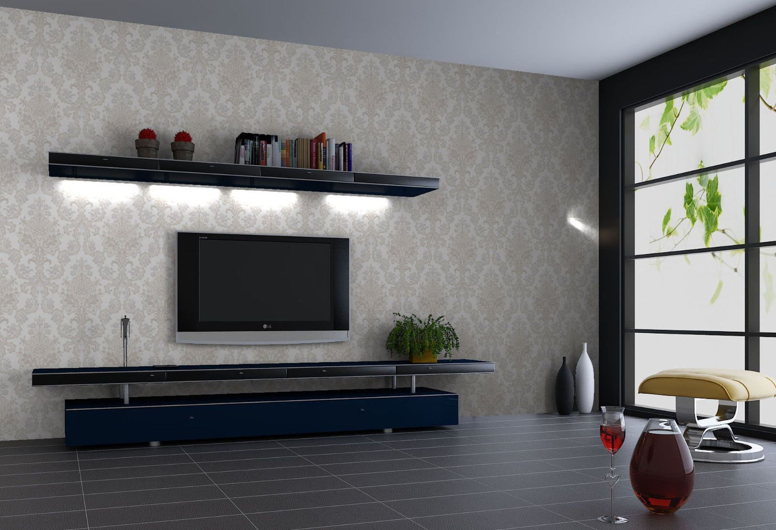 Tv Shelf And Wallpaper Back Staircase Design Tv Cabinets Living Room Tv Unit