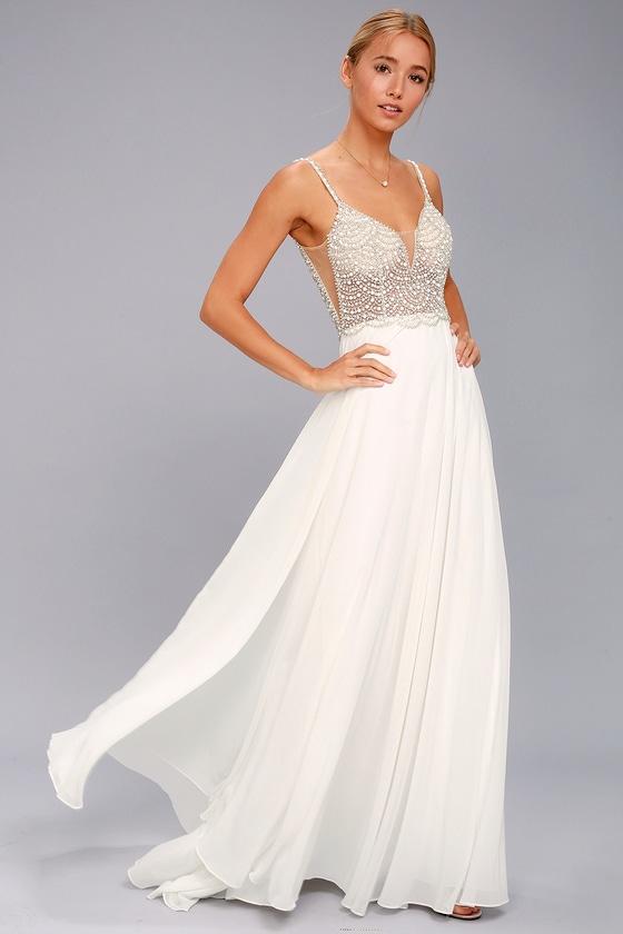 True Love White Beaded Rhinestone Maxi Dress In 2020 White Beaded Dress Beaded Maxi Dress Cute Prom Dresses