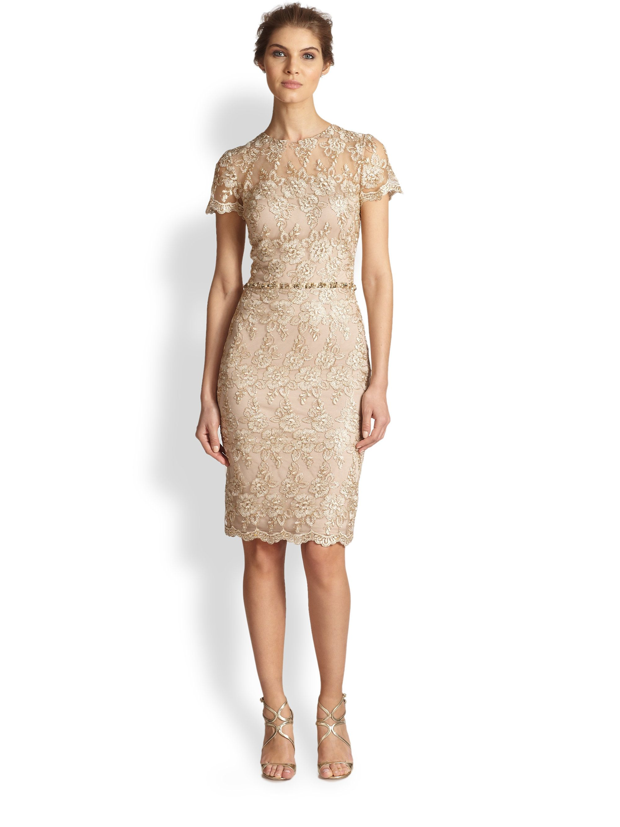 Women 39 s natural shortsleeve lace dress david meister for Taupe lace wedding dress