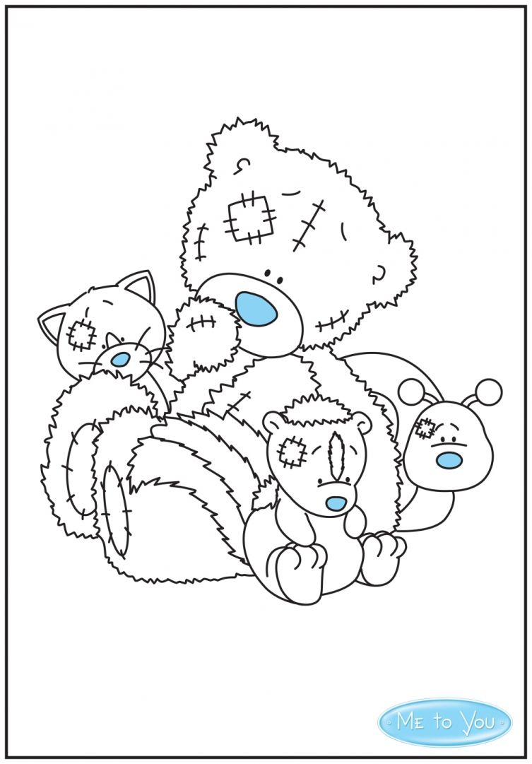 Tatty Teddy colouring sheet with his My Blue Nose Friends  Tatty