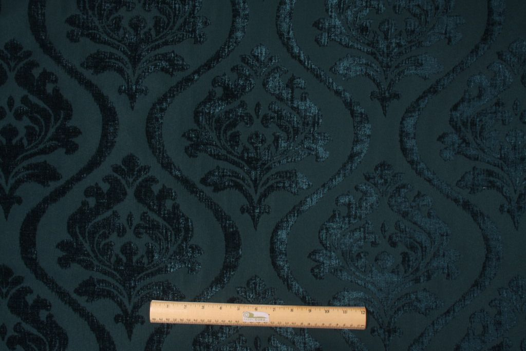 Merrimac Barrow M9220 In Peacock Chenille Damask Upholstery Fabric