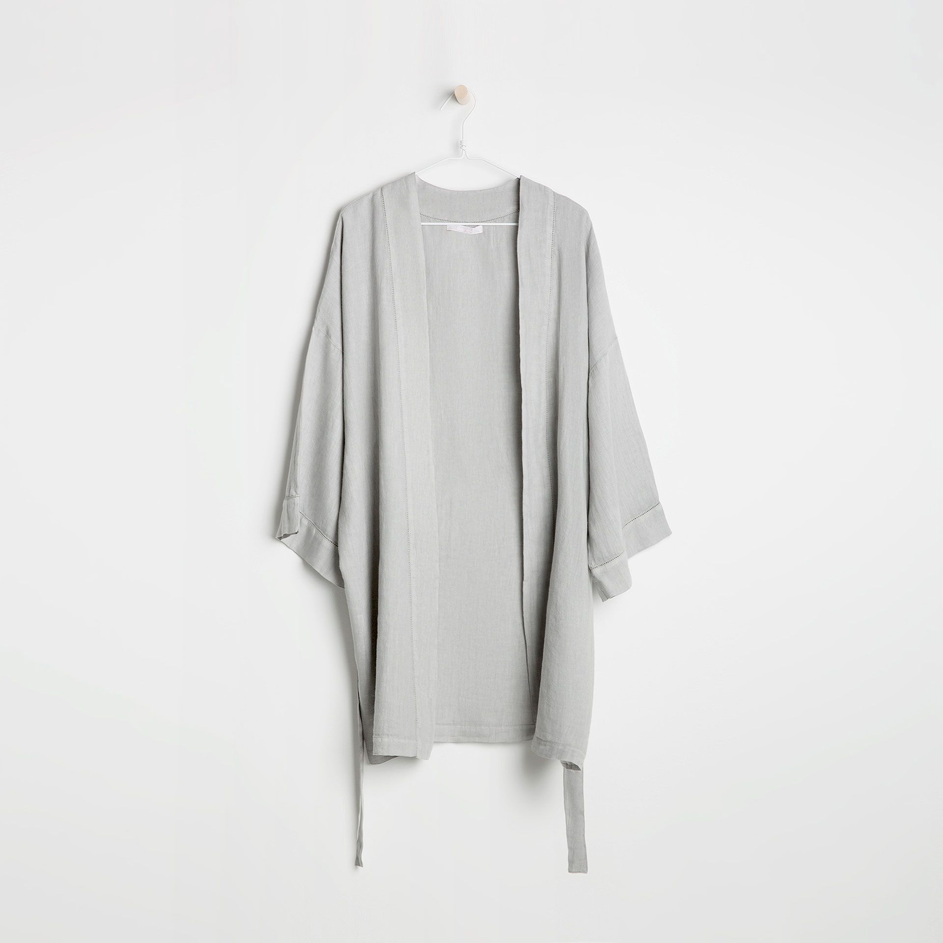 Grey Open Knit Linen Kimono
