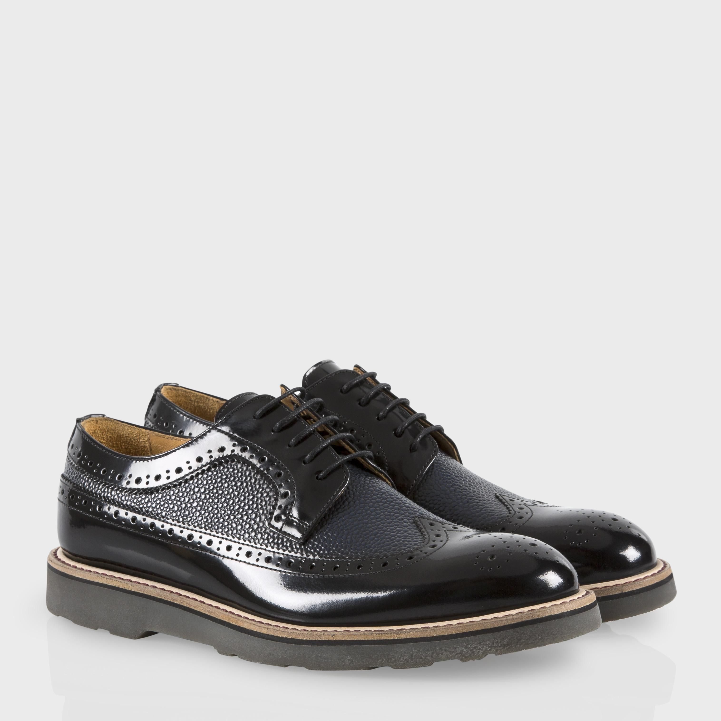 Paul Smith Womens Shoes  Black HighShine Leather Grand Brogues
