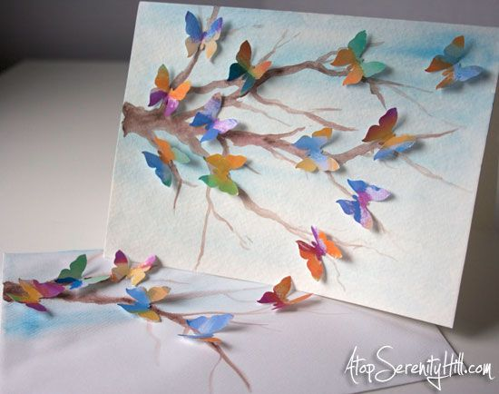 Butterflies Greeting Card Watercolor Birthday Cards Butterfly