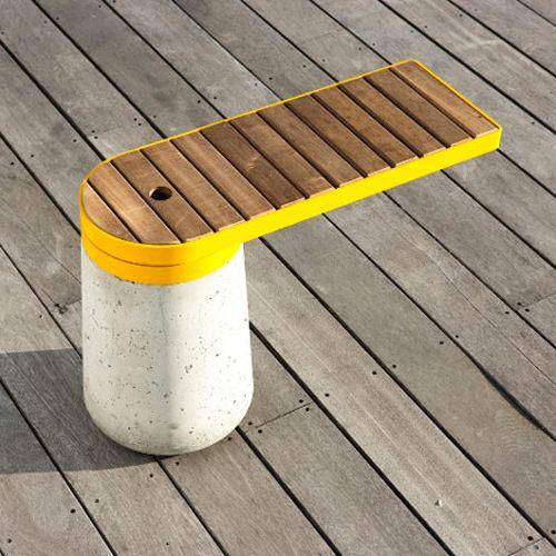 Enjoyable Outdoor Cantilever Bench Concrete Base Metal Strap Wood Beatyapartments Chair Design Images Beatyapartmentscom
