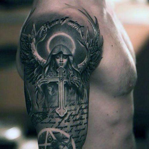 Top 43 Bible Verse Tattoo Ideas 2020 Inspiration Guide Angel Tattoo Men Angel Sleeve Tattoo Scripture Tattoos