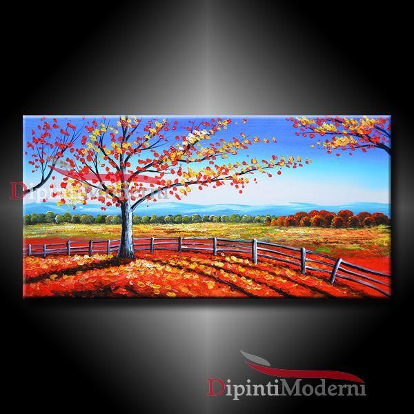 Quadro moderno con paesaggio di campagna in autunno for Quadri dipinti a mano paesaggi