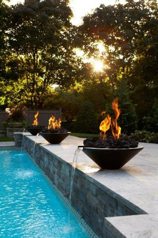 Fire Pit And Pool Fountain All In One Poolside Decor Backyard