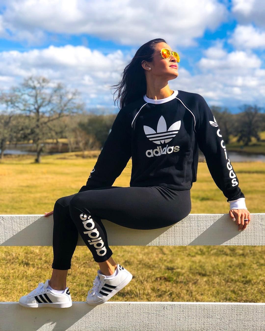 Adidas Adidas Leggings Adidas Sweatshirt Adidas Cloud Foam Shoes Ray Ban Sunglasses Black And White Ahtleisure Work Fitness Fashion Fashion Workout Wear [ 1350 x 1080 Pixel ]