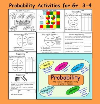 probability activities for gr 3 4 pdf 8 pages ad 24 7 tieplay educational resources llc. Black Bedroom Furniture Sets. Home Design Ideas