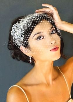 Leslie Li Grace Style Crystal Bridal Birdcage Veil With Brooch