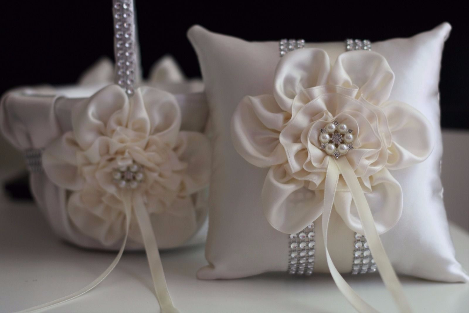 Details About Ivory Cream Wedding Flower Girl Basket And Ring Bearer Pillow Set With Brooch