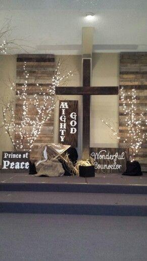 Christmas Stage Decorating Ideas Church Design Advent Decorations Designs Births Diy Decor