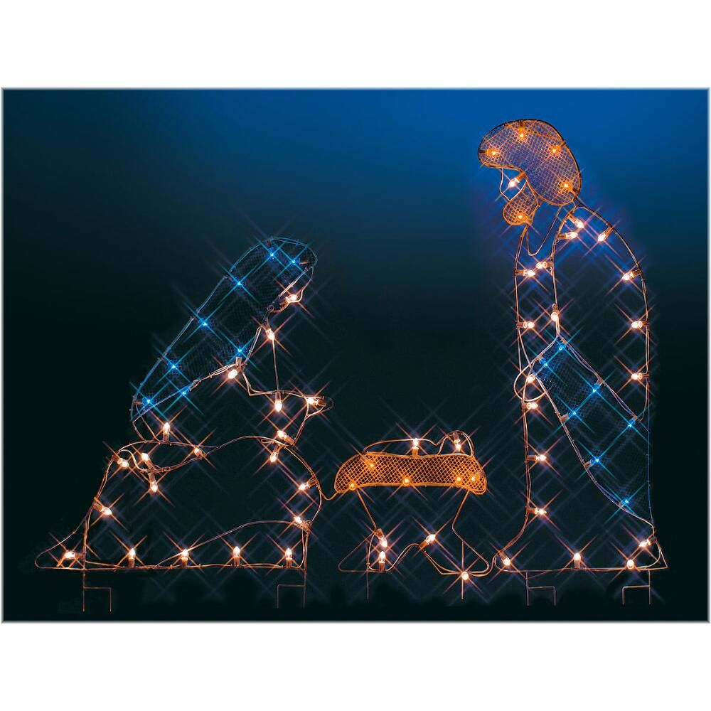 Weihnachtsbeleuchtung Silhouette.Silhouette Nativity Lighted Led Wire Frame Shape Christmas