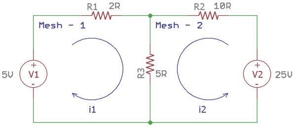 Solving Two Meshes Using Mesh Current Analysis Analysis Mesh Simple Circuit