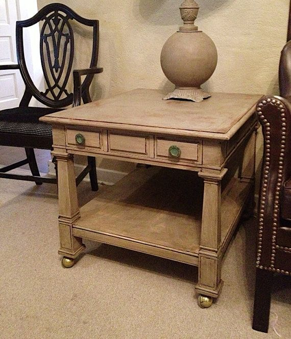 French Linen Chalk Paint Coffee Table: High End Wood Side Table, French Linen Dark Wax Chalk