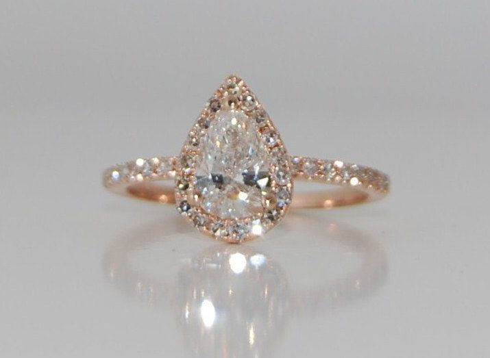 Rose Gold engagement ring Rose gold diamond ring pear cut diamond ring 1ct