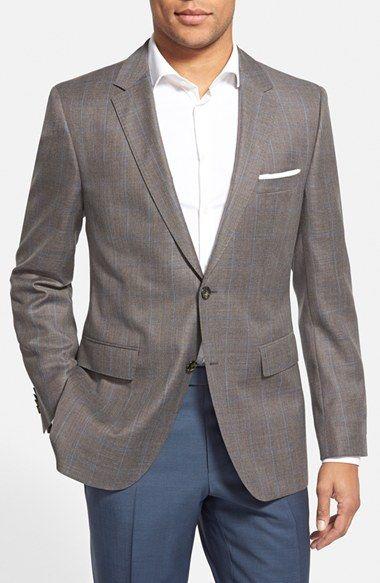 BOSS 'James' Trim Fit Windowpane Wool Sport Coat