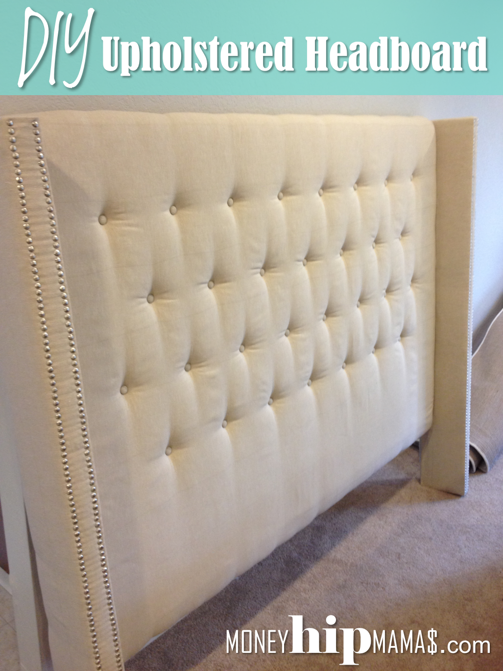 diy upholstered headboard with nailhead detailed arms - Diy Trkopfteil King Size
