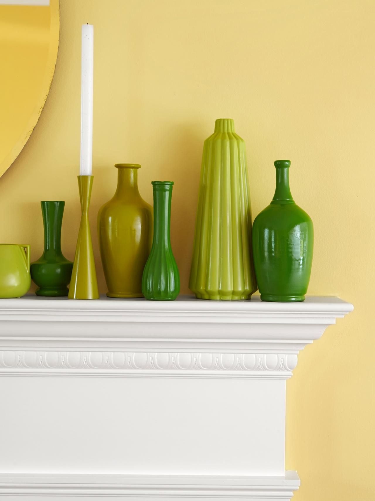 Mismatches from a thrift store, 15 total Green vase