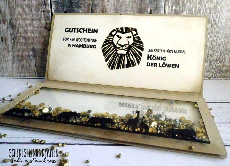 Geschenkverpackung Fur S Musical Konig Der Lowen Gutschein Basteln Gutschein Basteln Musical Geschenke