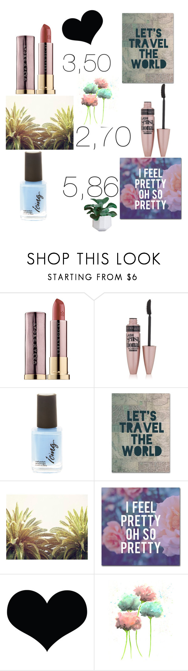 """""""Untitled #6"""" by nightcaty ❤ liked on Polyvore featuring beauty, Urban Decay, Maybelline, Trademark Fine Art and 10dollarbeauty"""