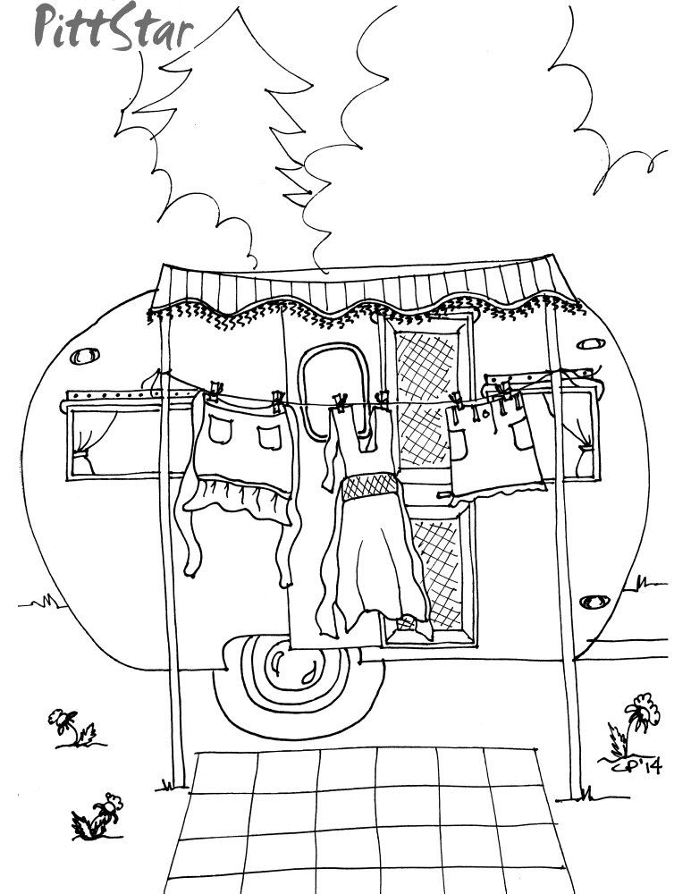 Instant Download - Whimsical Travel Trailer haning out the laundry ...