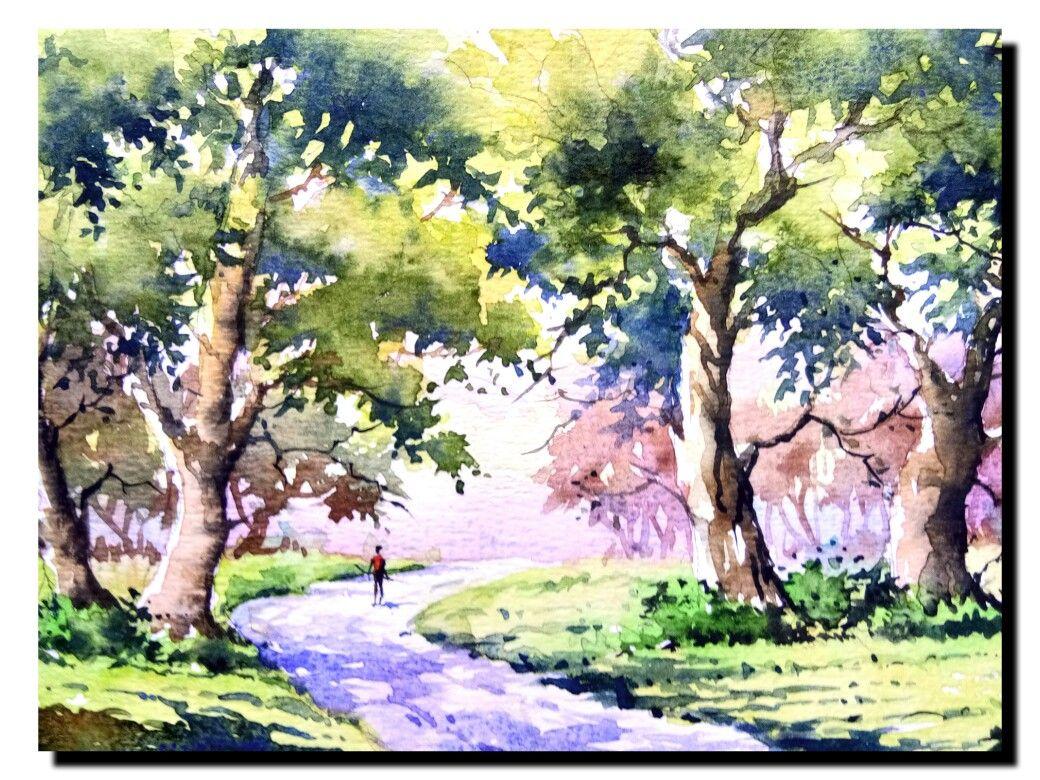 A Small Landscape Of Watercolor Watercolor Landscape Paintings Watercolor Paintings Nature Watercolor Landscape