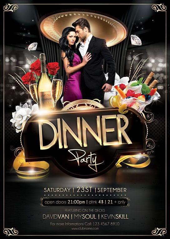 Dinner Party Flyer Template On Behance  Afiches