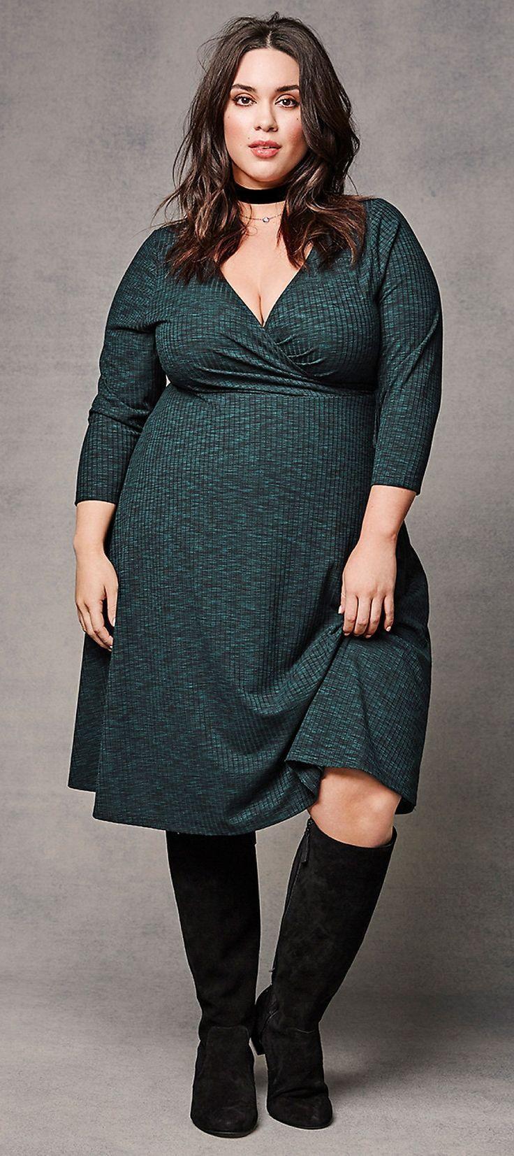 plus size ribbed knit surplice dress   plus size fashion
