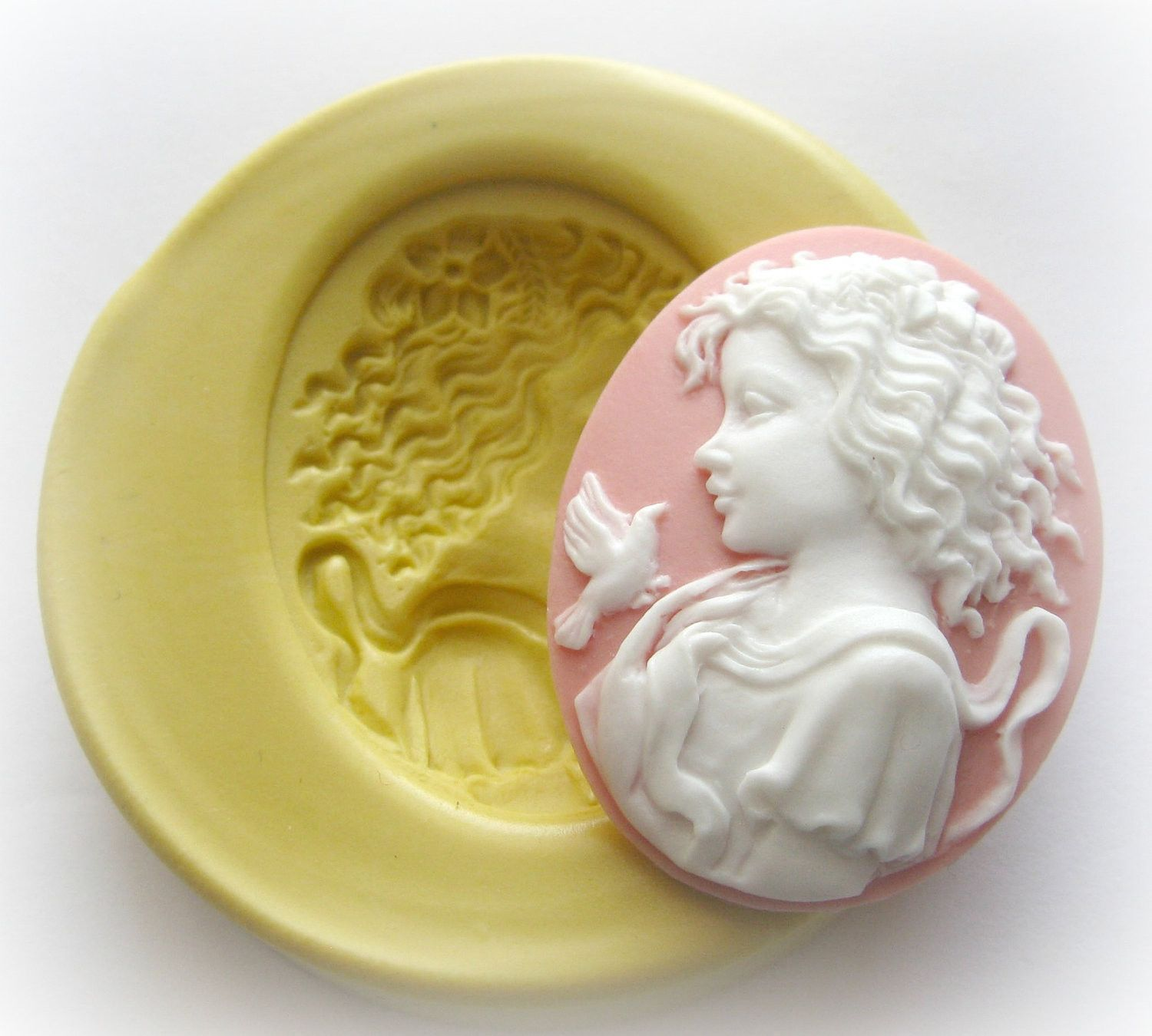 Victorian lady cameo mold clay resin soap mould victorian soap