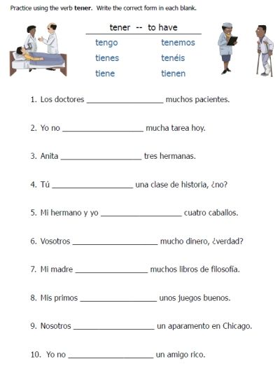 Tener Worksheet : tener, worksheet, Tener, Worksheets, Printable, Spanish, Worksheets,, Verbs,, Language, Learning