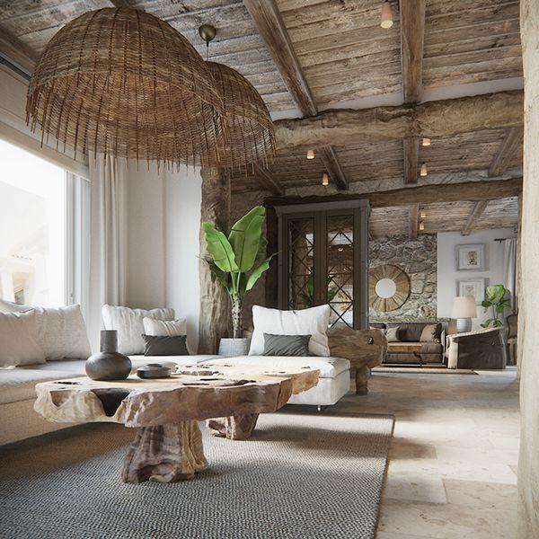 Voyage salons aménagement intérieur maison meubles en bois flotté galeries rustique chic sapins décoration intérieure