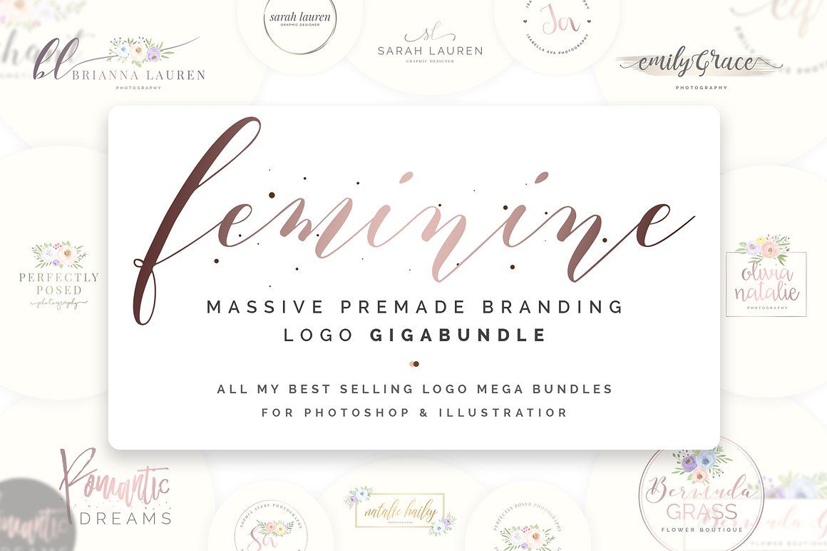 Feminine Premade Logo Gigabundle By Snipescientist On