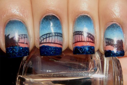 Australia Day Nail Art Created Using Picture Polish Cosmos Water