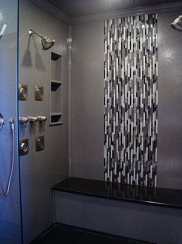 Gorgeous and easy to maintain tile, a shower bench, and built in ...
